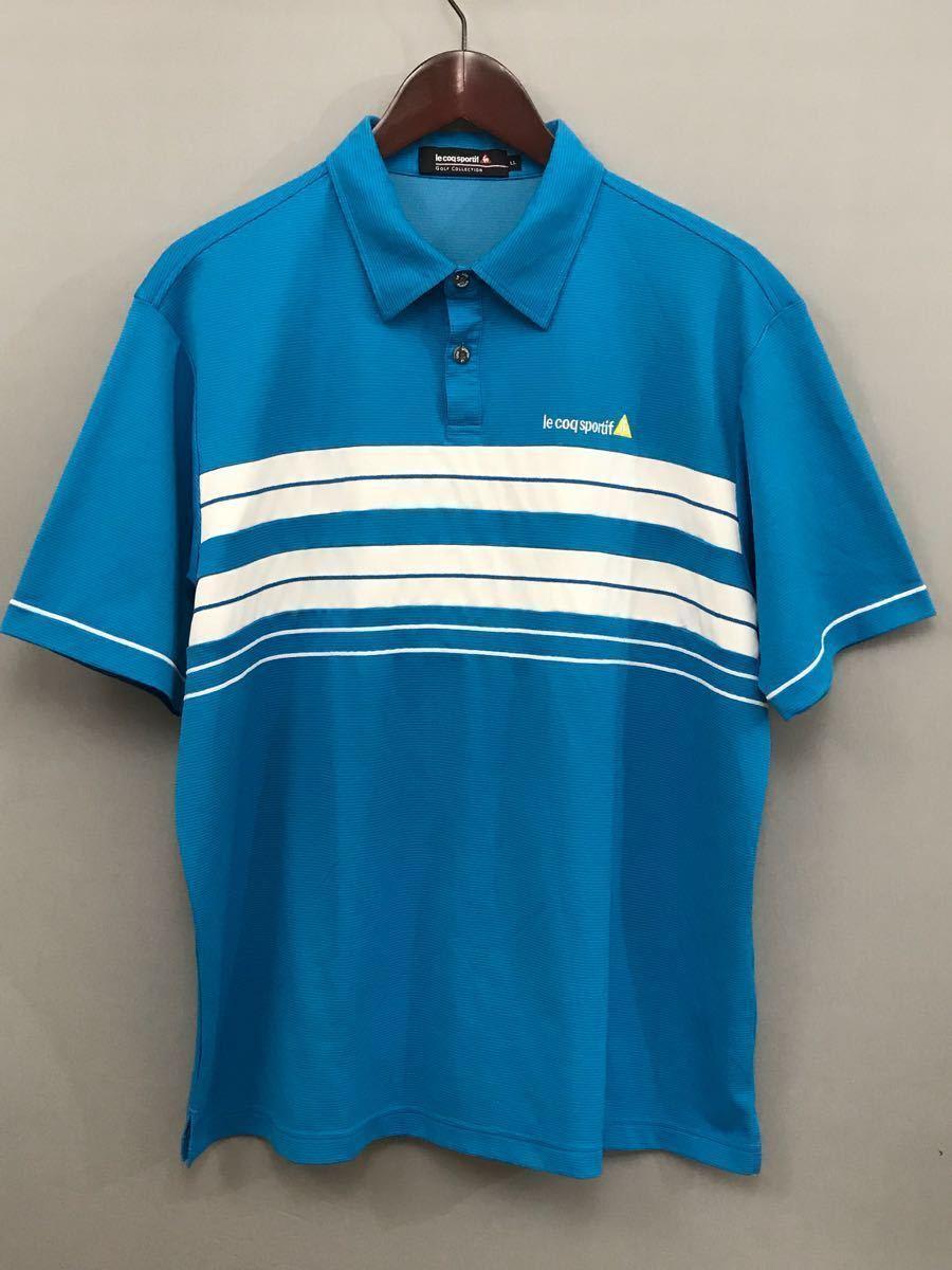 ルコック le coq sportif ルコックスポルティフ ドライポロシャツ メンズ 半袖 ゴルフウェアー LLサイズ ~◯_画像3