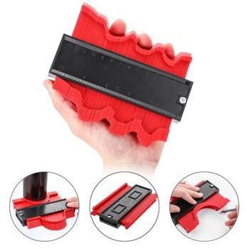 新品 型取りゲージ 赤 コンターゲージ 測定ゲージ 測定工具 目盛付き 輪郭測定器 コピーゲージ 高強度 耐久性 防錆 丈夫 ABS樹脂製 DIY_画像1