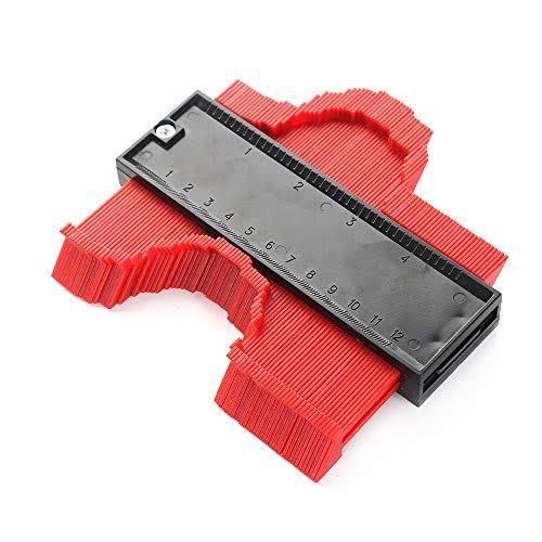 新品 型取りゲージ 赤 コンターゲージ 測定ゲージ 測定工具 目盛付き 輪郭測定器 コピーゲージ 高強度 耐久性 防錆 丈夫 ABS樹脂製 DIY_画像2