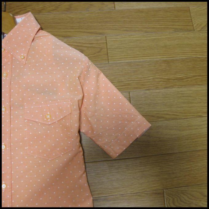 ☆オックスフォード地ドットデザイン半袖シャツ オレンジM☆_画像3