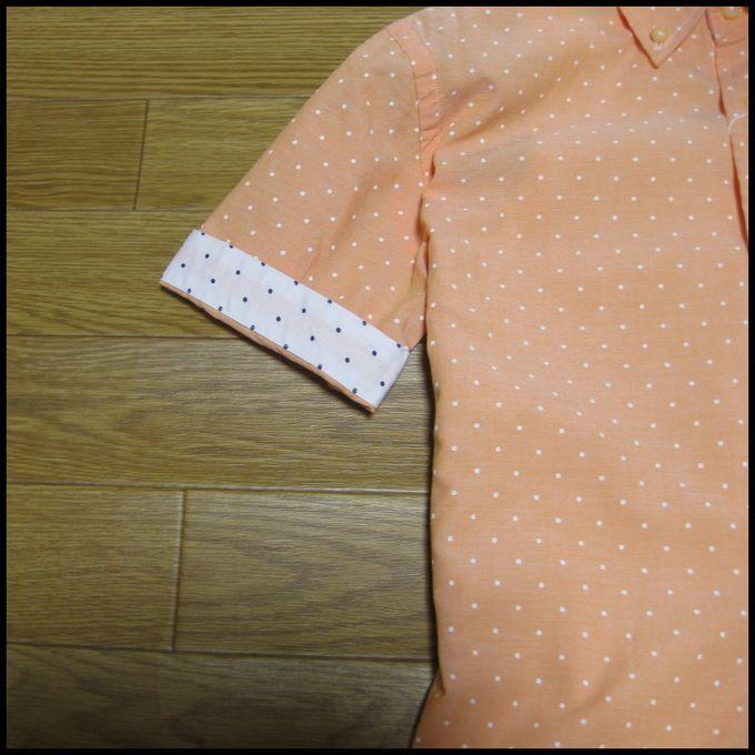 ☆オックスフォード地ドットデザイン半袖シャツ オレンジM☆_画像5