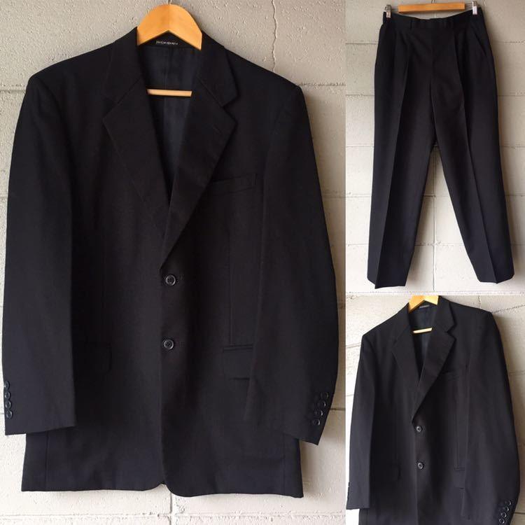 SAINT LAURENT イヴ サンローラン セットアップ スーツ ストライプ ブラック 高級 ジャケット パンツ b841