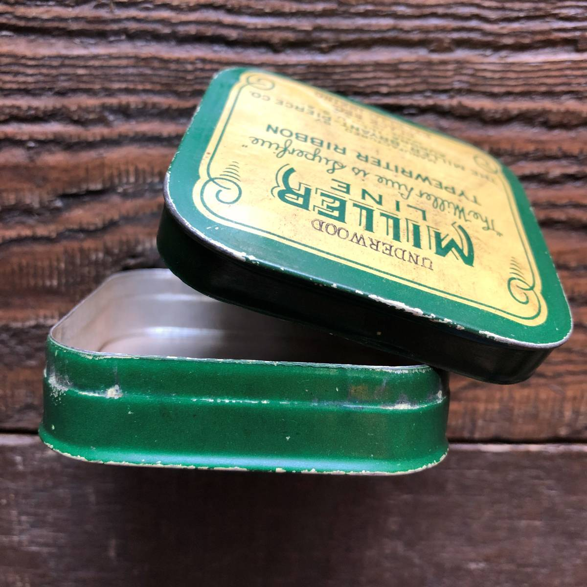 即決 ~1950s MADE IN USA タイプライターリボン ヴィンテージ缶 ケース / 小物入れ パーツ ツール アクセサリー アンティーク シャビー_画像3