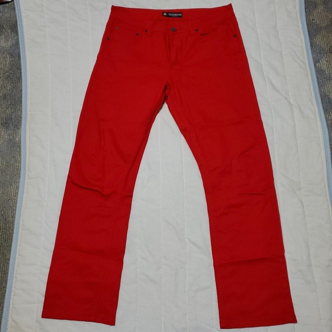 超美品 ヴィクトリアス W36 ストレッチジーンズ スリムストレート 赤 レッド
