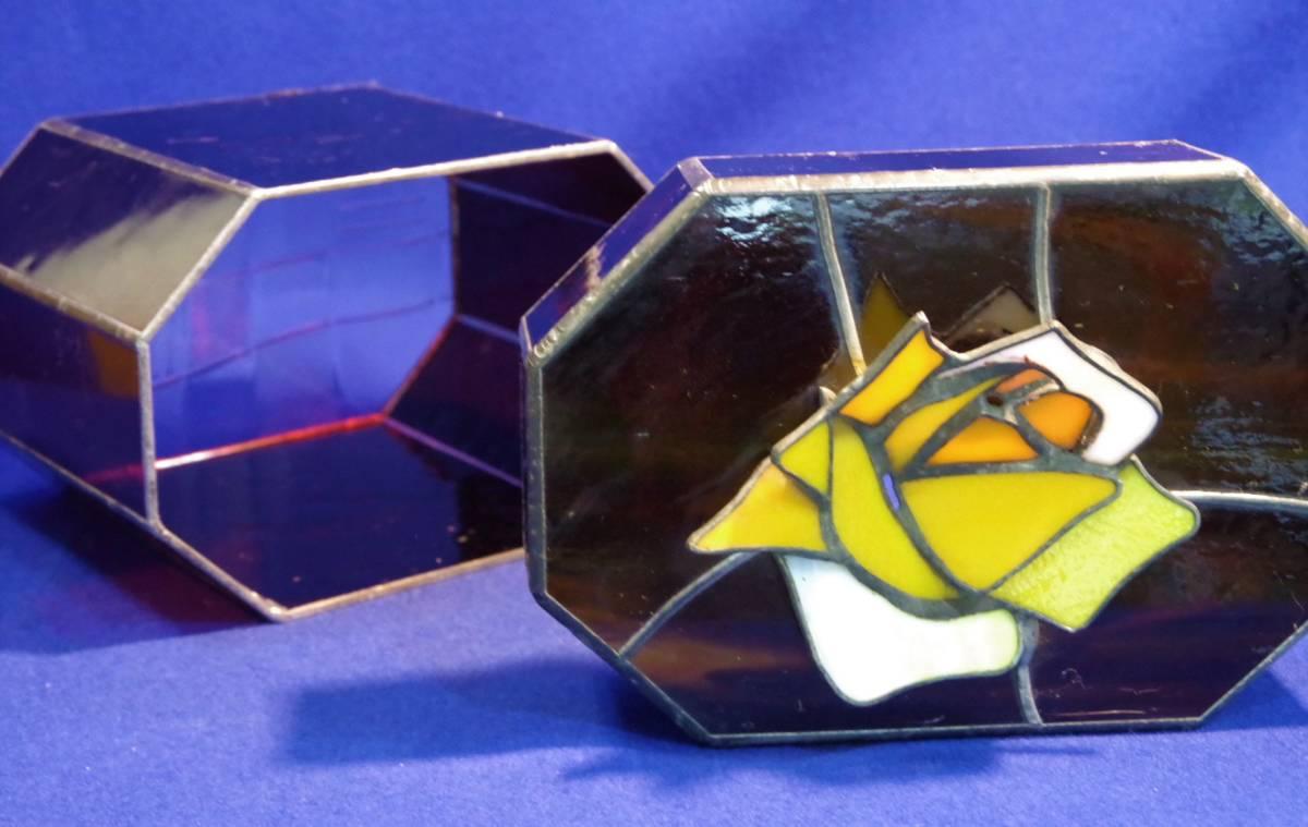 ステンドグラス八角小物入れ ハンドメイド 飾り箱
