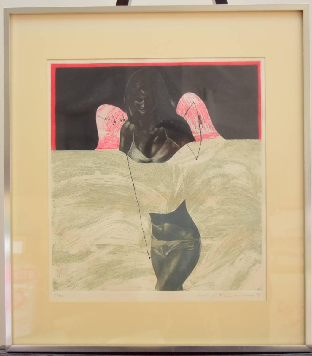池田満寿夫 [歩む天使] 銅版画 1969年 真作_画像2