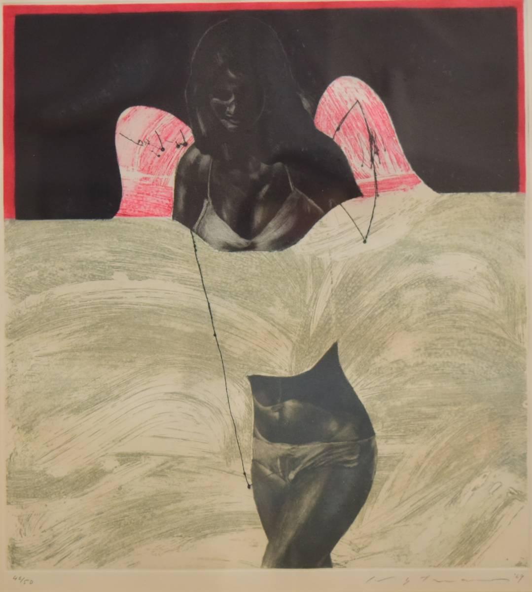 池田満寿夫 [歩む天使] 銅版画 1969年 真作_画像1