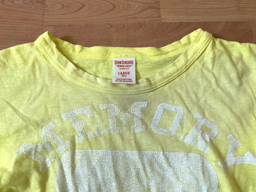 古着■半袖Tシャツ DENIM DUNGAREE デニムタンガリー 子供服/150cm/黄色/バックプリント_画像3