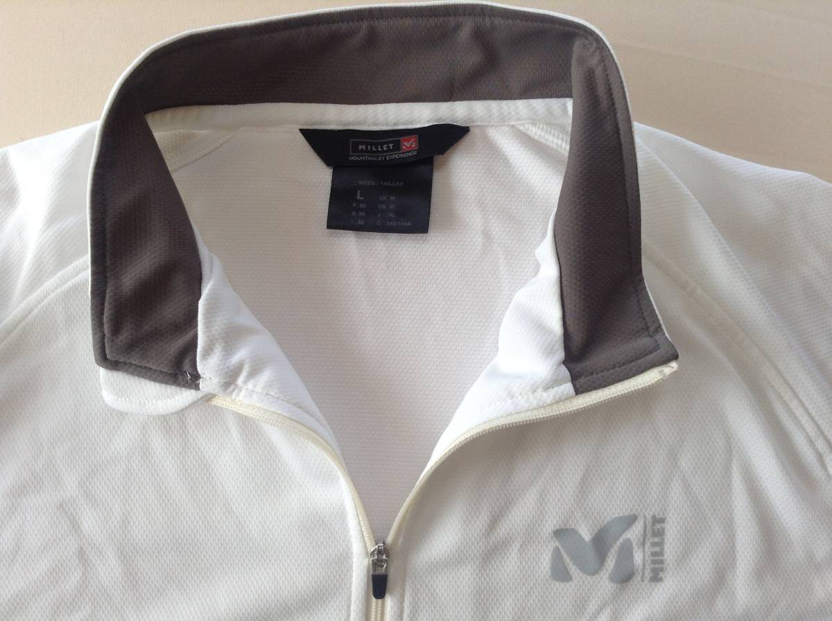 ミレー ハーフジップ Tシャツ Lサイズ 白 速乾 MILLET_画像1