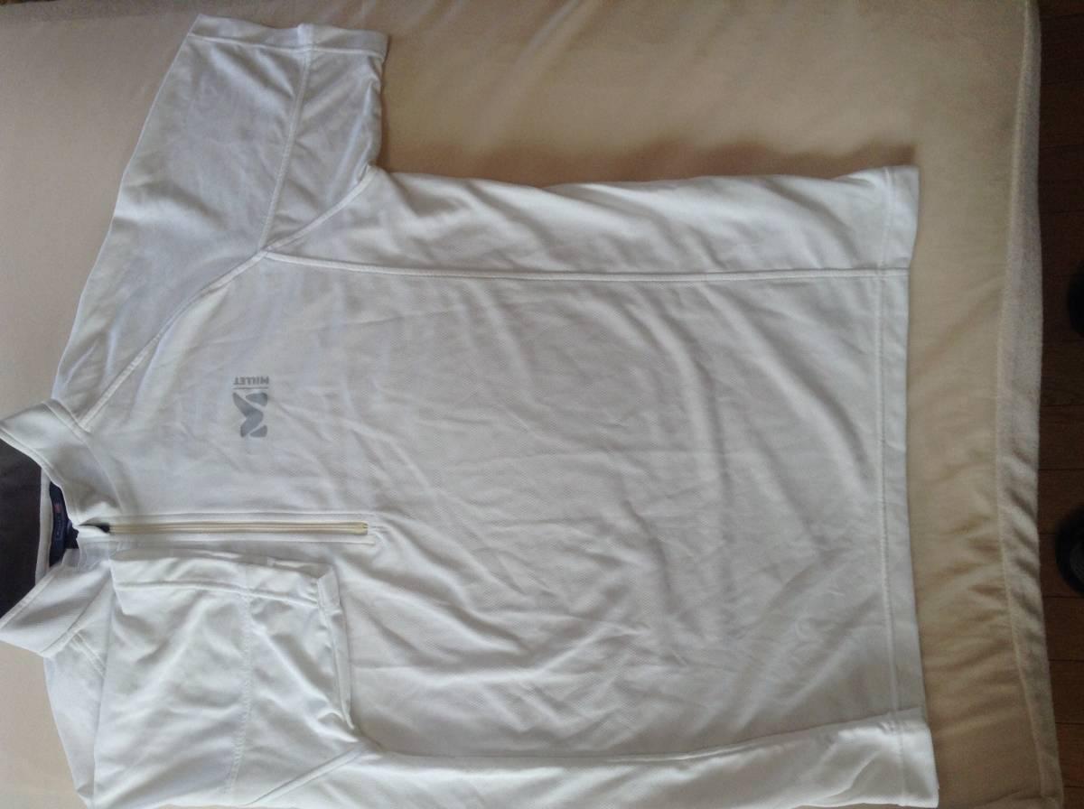 ミレー ハーフジップ Tシャツ Lサイズ 白 速乾 MILLET_画像2
