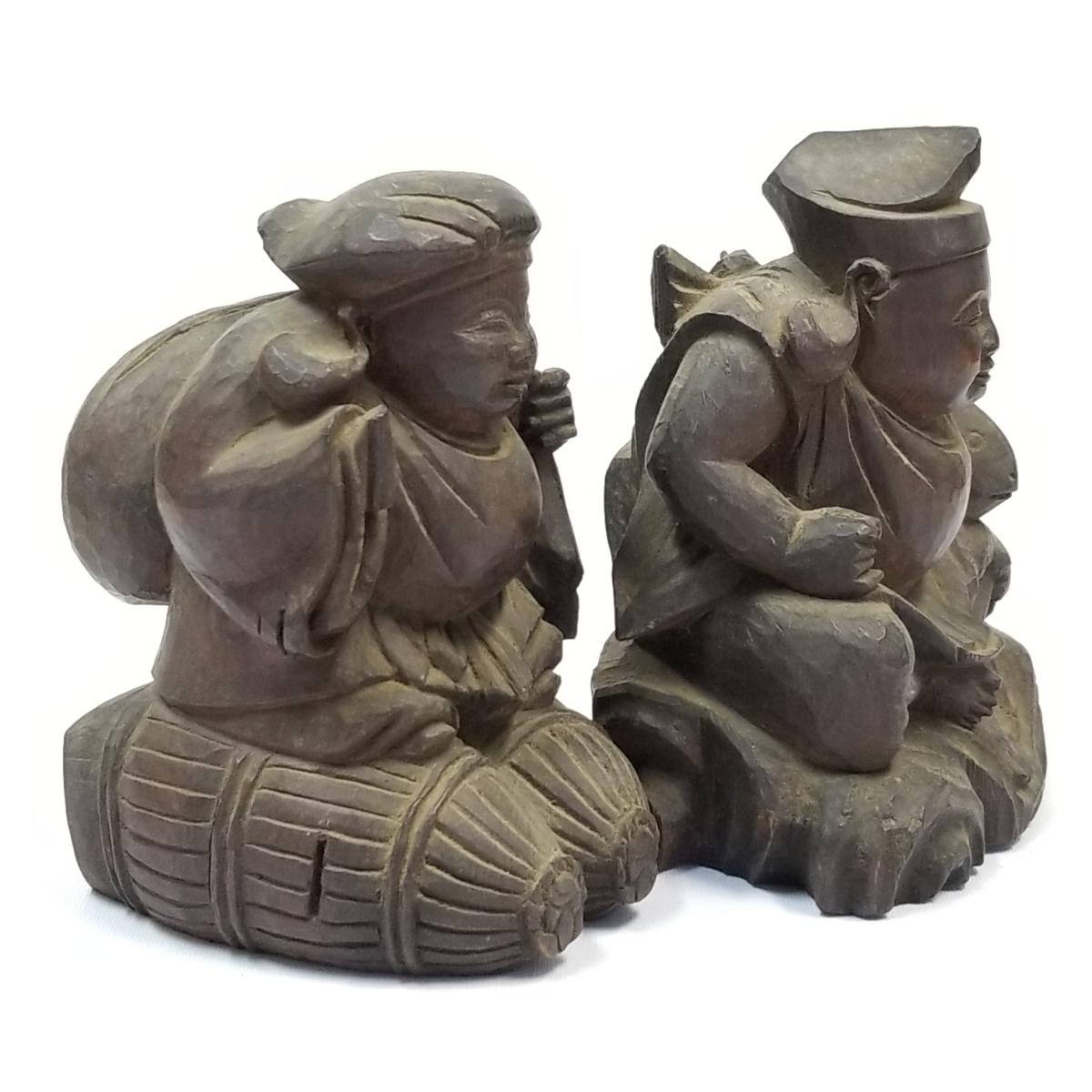 ◇時代物 木製 木彫り 彫刻 置物 恵比寿大黒 検索/ 仏具 仏像 寺院 宗教 東洋 中国美術 アンティーク (t5-3/1_画像2