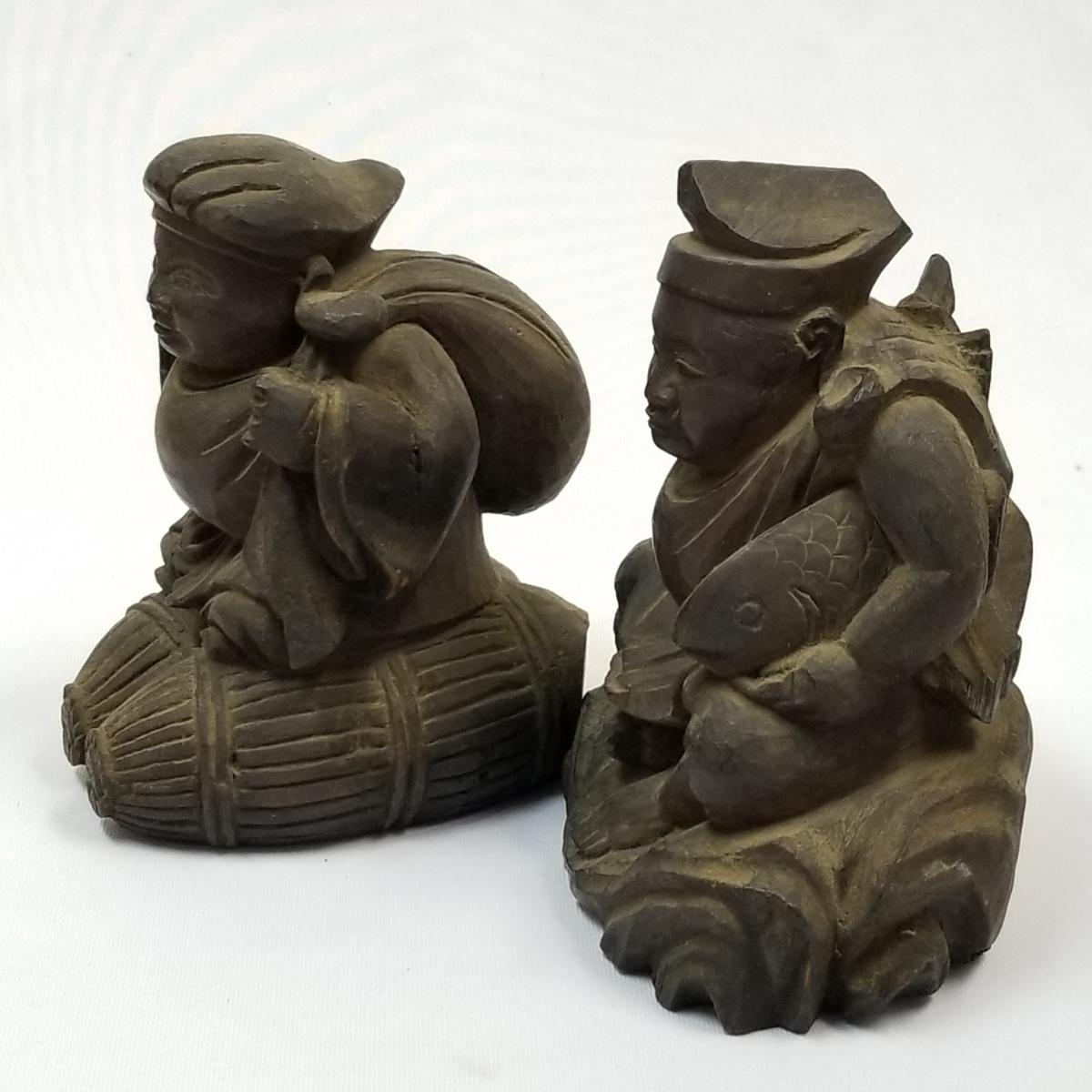 ◇時代物 木製 木彫り 彫刻 置物 恵比寿大黒 検索/ 仏具 仏像 寺院 宗教 東洋 中国美術 アンティーク (t5-3/1_画像3