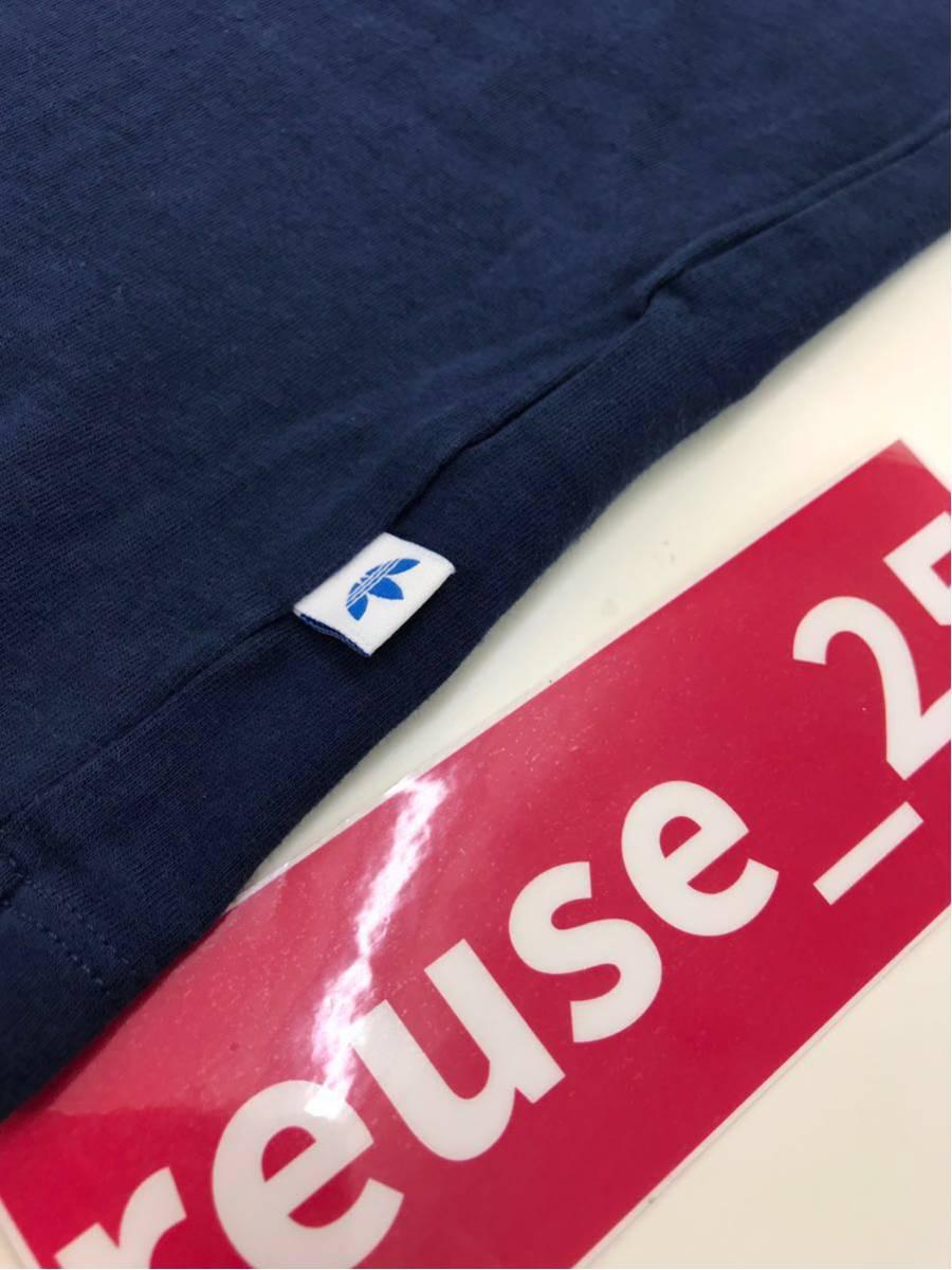 adidas アディダスオリジナルス レディース Tシャツ 半袖 ボートネック プリントT デカロゴ サイズOT ネイビー 紺色 【716】_画像7