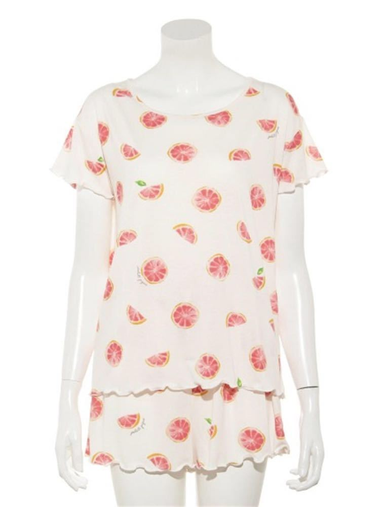 gelato pique【ONLINE 限定】ピンクグレープフルーツTシャツ&ショートパンツ&巾着SET_画像5