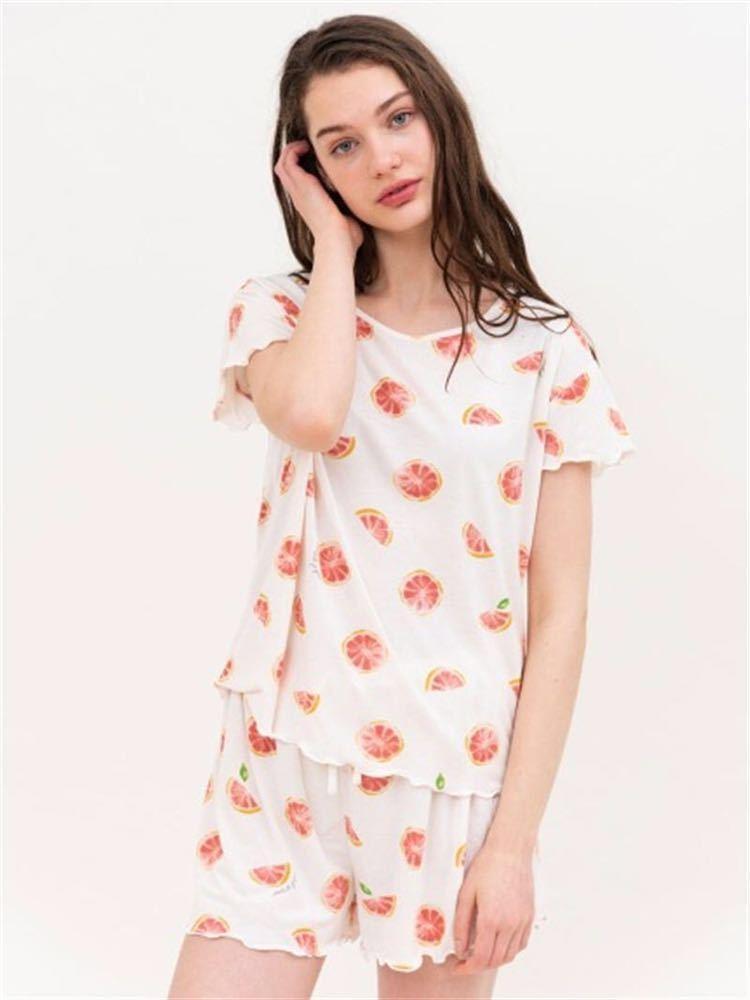 gelato pique【ONLINE 限定】ピンクグレープフルーツTシャツ&ショートパンツ&巾着SET_画像2