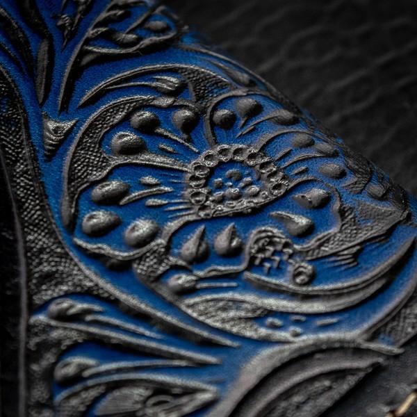 【バイカーズウォレット】 新品 未使用 送料無料 1円 本革 レザー メンズ 財布 長財布 二つ折り コンチョ バイカー ウォレット 青 ブルー_画像4