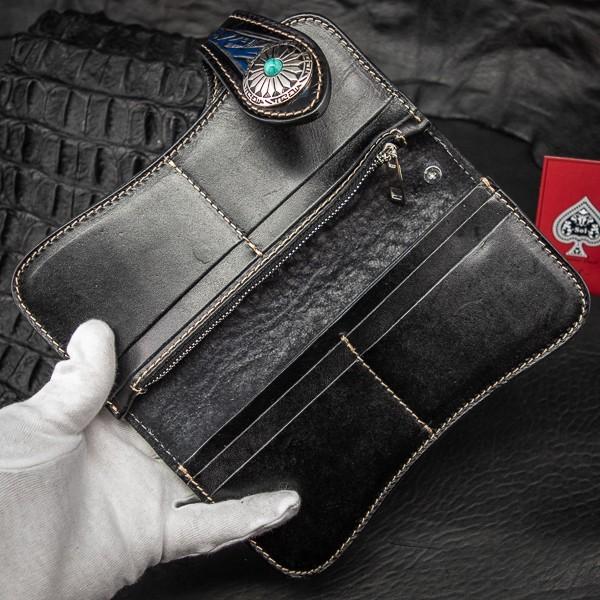 【バイカーズウォレット】 新品 未使用 送料無料 1円 本革 レザー メンズ 財布 長財布 二つ折り コンチョ バイカー ウォレット 青 ブルー_画像8
