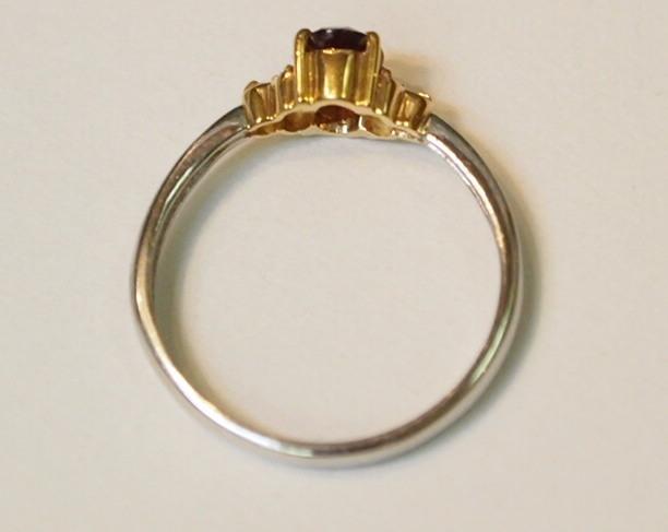 新品 送料無料 Pt900/K18YG製 天然 ガーネット スリム&シンプル ダイヤ入り リング/プラチナ イエローゴールド コンビ/指輪/1月 誕生石_細身でスリムなシルエットですが丁寧な作り