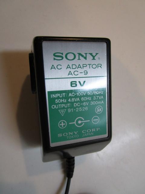 SONY/ソニー AC-9 日本製 ACアダプター 6V/300mA/テスターにて電圧7.2Vでした。_画像3