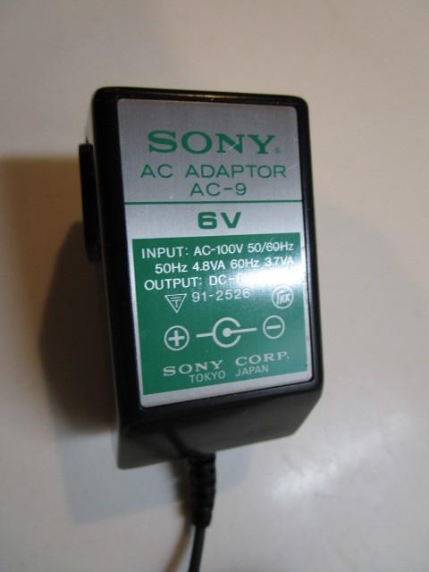 SONY/ソニー AC-9 日本製 ACアダプター 6V/300mA/テスターにて電圧7.2Vでした。_画像4
