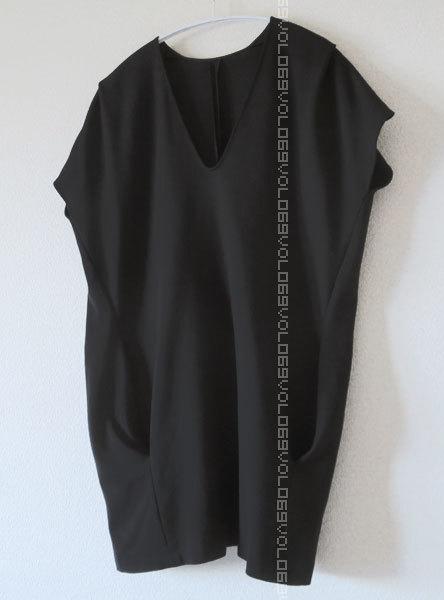 ジル サンダーJIL SANDERポケット キャップ スリーブ ジャージー オーバーサイズ コクーン チュニック ワンピース トップス38ブラック_画像6