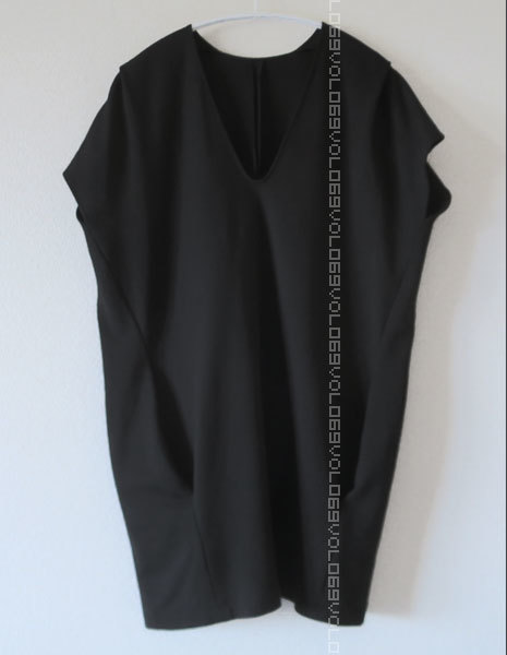 ジル サンダーJIL SANDERポケット キャップ スリーブ ジャージー オーバーサイズ コクーン チュニック ワンピース トップス38ブラック_画像1