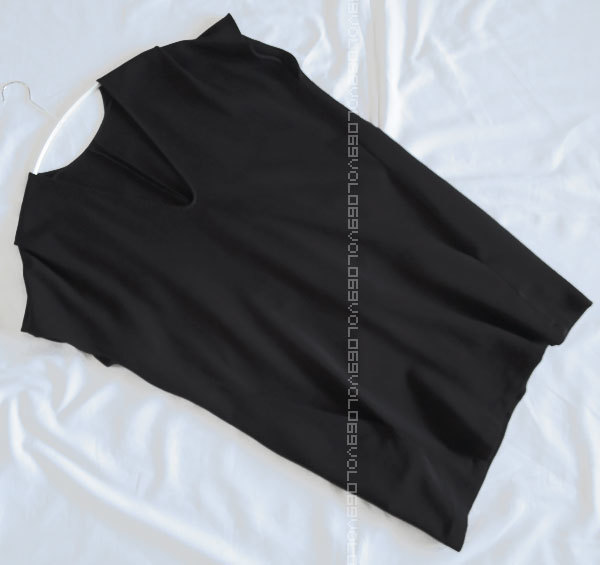 ジル サンダーJIL SANDERポケット キャップ スリーブ ジャージー オーバーサイズ コクーン チュニック ワンピース トップス38ブラック_画像3