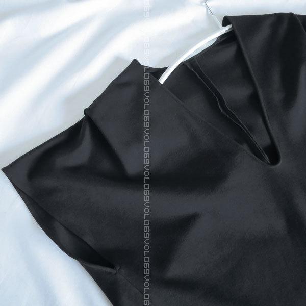 ジル サンダーJIL SANDERポケット キャップ スリーブ ジャージー オーバーサイズ コクーン チュニック ワンピース トップス38ブラック_画像4