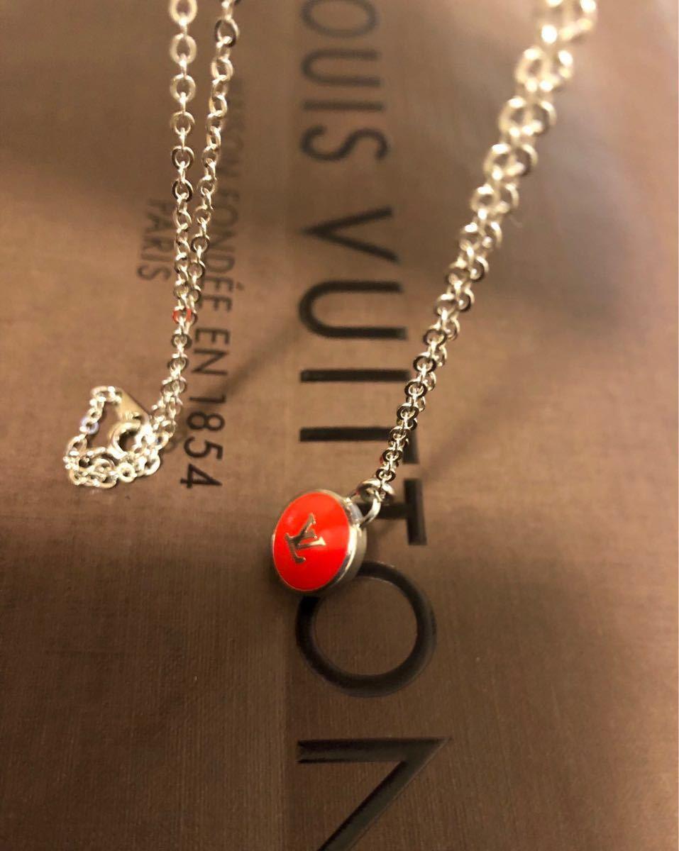 超美品 正規品 LOUIS VUITTON ルイヴィトン バッグチャーム トップ ネックレス 赤×シルバー クリックポスト185円_画像6