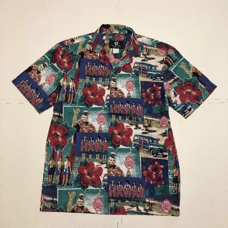 Mango Moon ハワイ製 半袖シャツ アロハシャツ ガラシャツ S カメハメハ フラガール_画像1