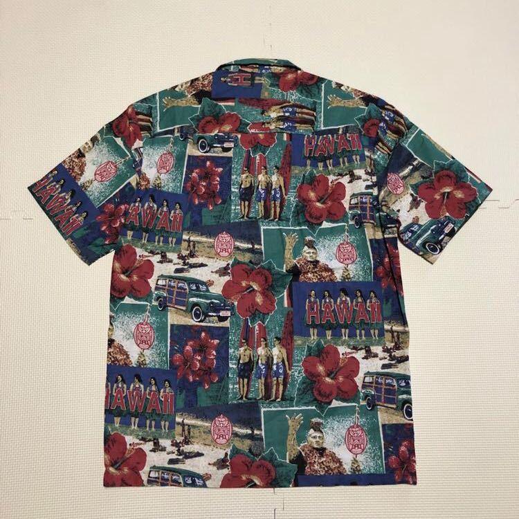 Mango Moon ハワイ製 半袖シャツ アロハシャツ ガラシャツ S カメハメハ フラガール_画像2