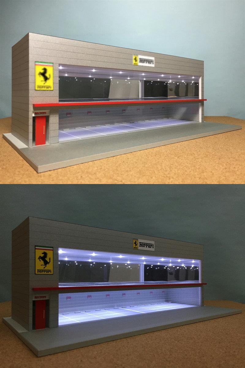 ジオラマ:1/64 ショールーム&ガレージⅤ(シルバーメタリック)/シャッター&LED照明付/前面道路付/ホコリ対策モデル!_画像6
