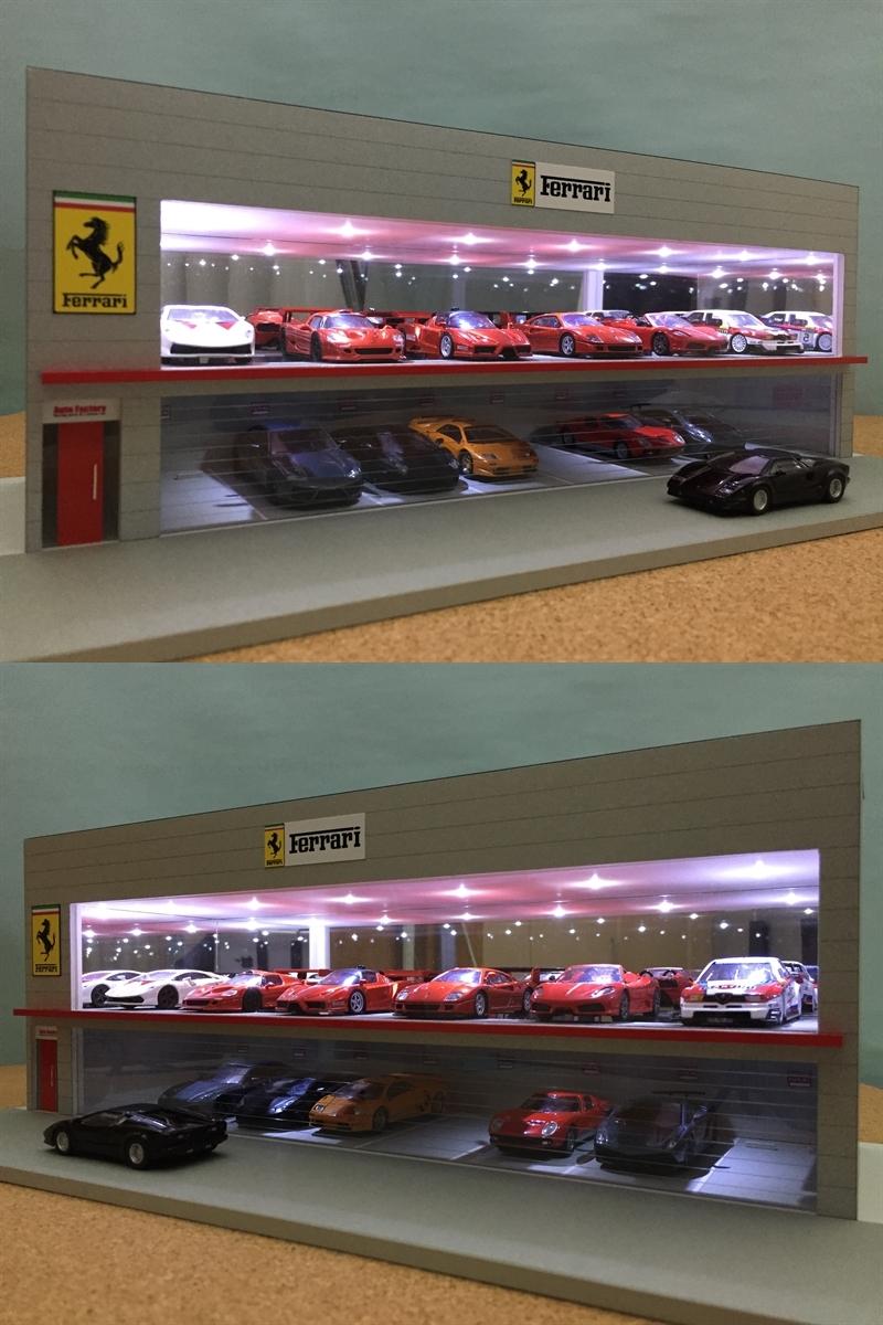 ジオラマ:1/64 ショールーム&ガレージⅤ(シルバーメタリック)/シャッター&LED照明付/前面道路付/ホコリ対策モデル!_画像3