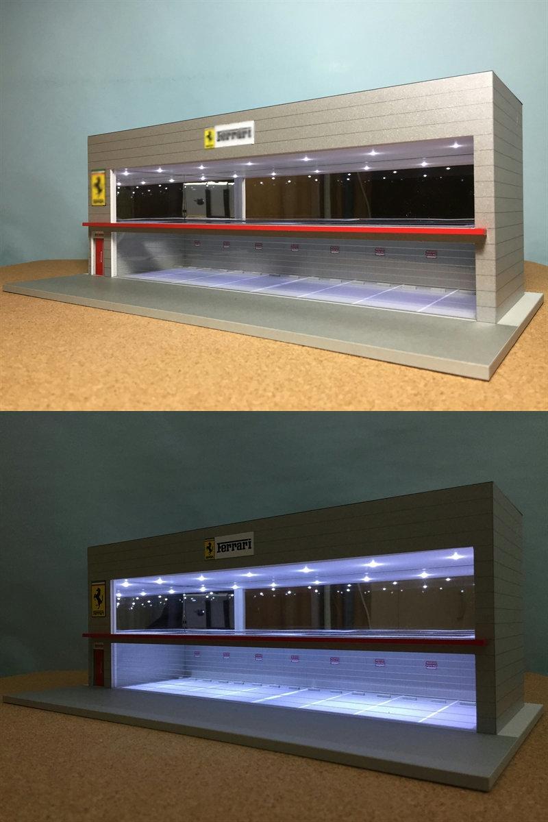 ジオラマ:1/64 ショールーム&ガレージⅤ(シルバーメタリック)/シャッター&LED照明付/前面道路付/ホコリ対策モデル!_画像7