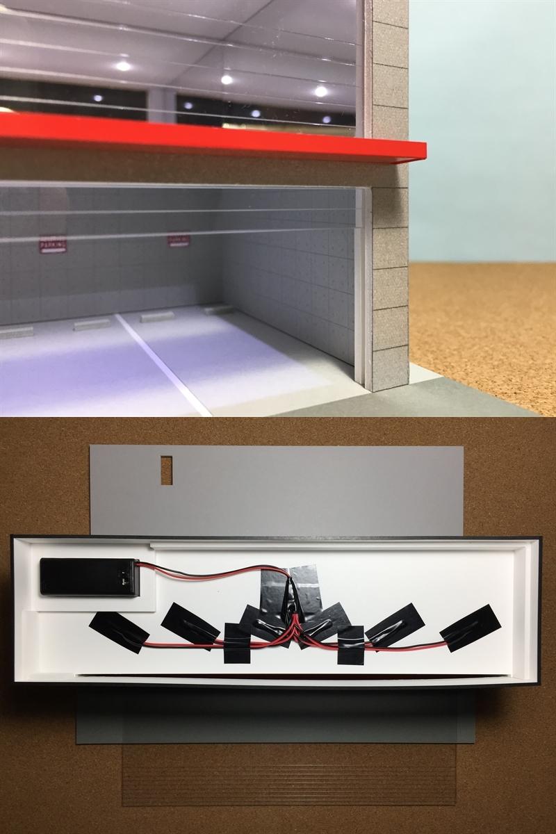 ジオラマ:1/64 ショールーム&ガレージⅤ(シルバーメタリック)/シャッター&LED照明付/前面道路付/ホコリ対策モデル!_画像10