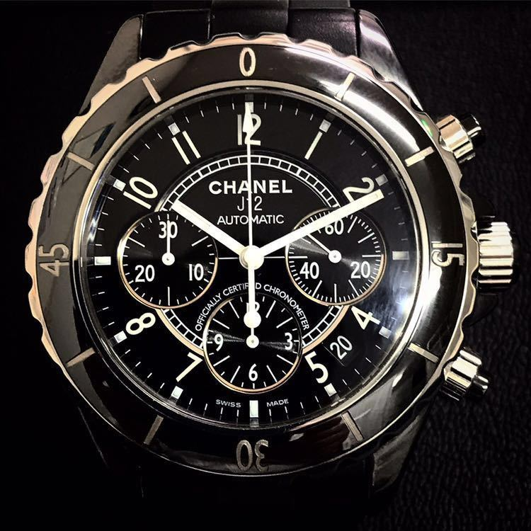 1円 シャネル CHANEL J12 クロノグラフ 時計 腕時計 メンズ 自動巻き AT 黒文字盤 ブラッ