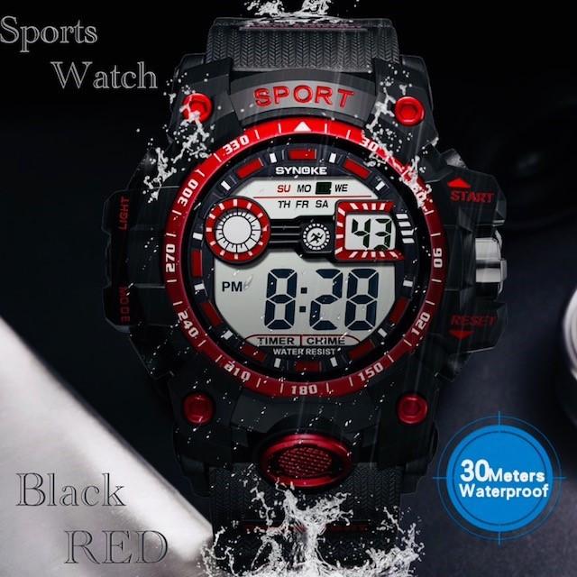 腕時計 スポーツ腕時計 デジタル時計 LEDライト ミリタリー スポーツ アウトドア ランニング アウトドア アクリルケース レッド 22_画像1