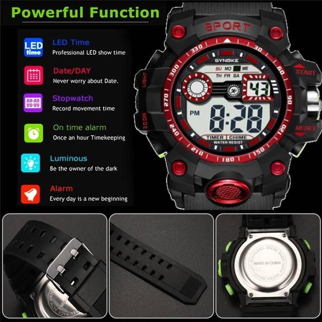 腕時計 スポーツ腕時計 デジタル時計 LEDライト ミリタリー スポーツ アウトドア ランニング アウトドア アクリルケース レッド 22_画像5