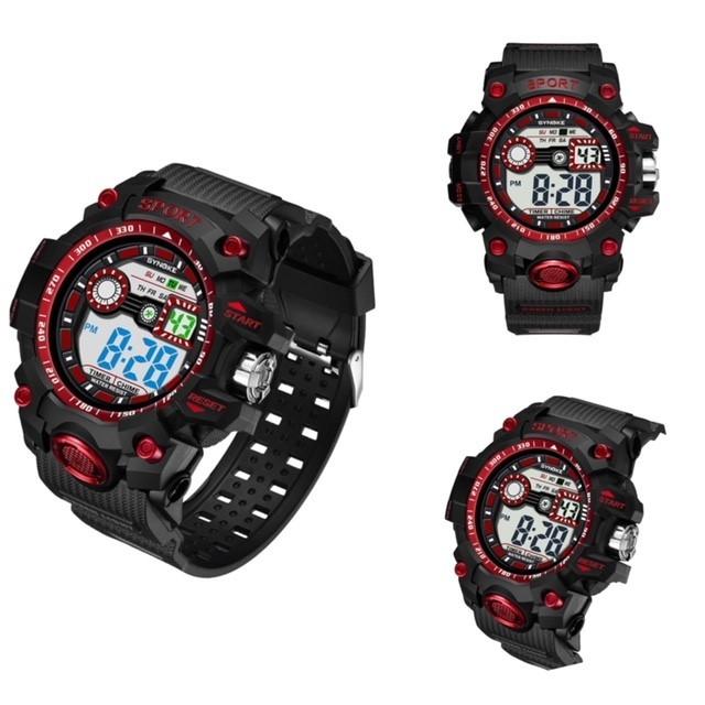 腕時計 スポーツ腕時計 デジタル時計 LEDライト ミリタリー スポーツ アウトドア ランニング アウトドア アクリルケース レッド 22_画像3