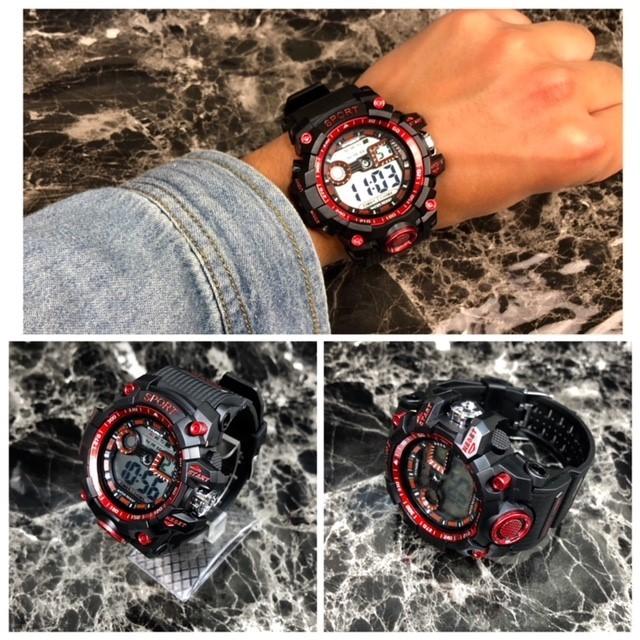 腕時計 スポーツ腕時計 デジタル時計 LEDライト ミリタリー スポーツ アウトドア ランニング アウトドア アクリルケース レッド 22_画像2