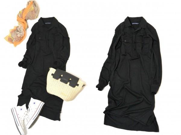 ラルフローレン RALPH LAUREN コットン100% 両裾スリット ロング丈 長袖 シャツ ワンピース♪