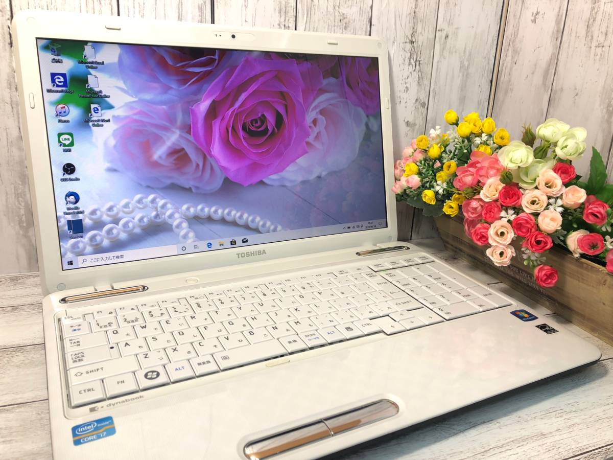 【爆速大容量SSD★リュクスホワイト】Windows10☆東芝 T451☆Core i7-2670QM(Sandy Bridge)☆新品SSD 640GB/8GB/ブルーレイ/Webcam/USB3.0
