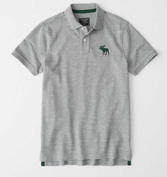 ★Abercrombie & Fitch★アバクロ★正規店購入★半袖ポロシャツ★EXPLODED ICON STRETCH POLO★グレー★S