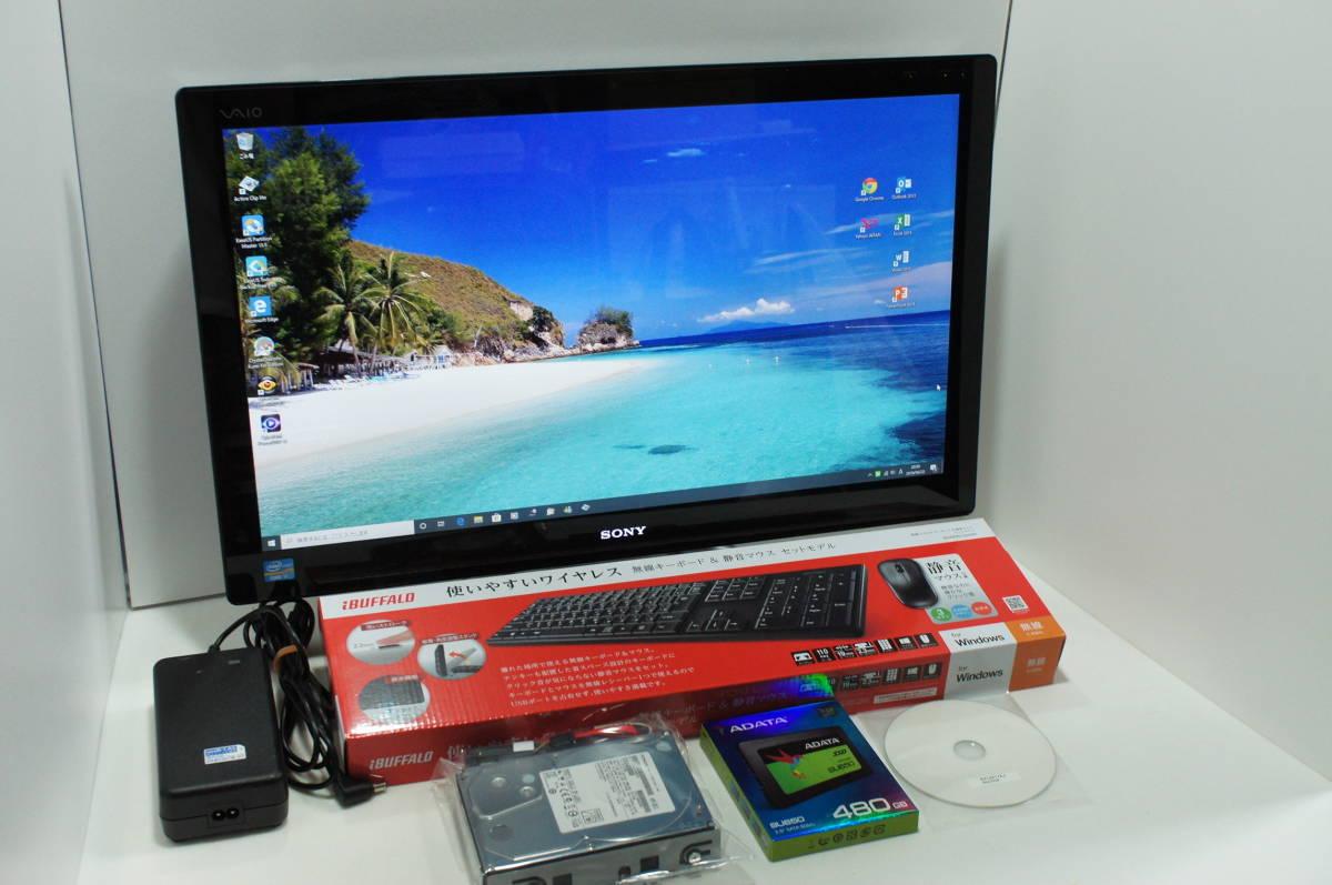 ☆超速中古良品☆SONY VAIO SVL2411AJ/Core i7-3610QM/8GB/SSD480GB/Win10Home/Office2013/GT620M/すぐつくTV/ブルーレイ