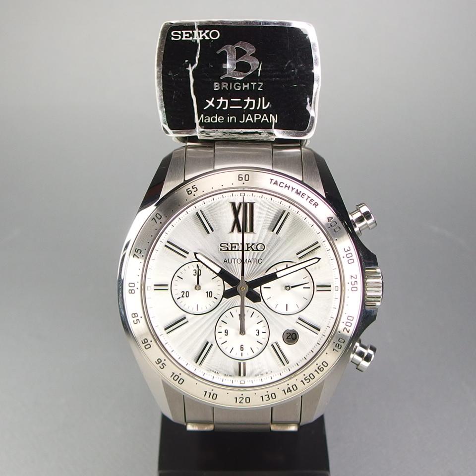 【送料無料 未使用品クラス】 SEIKO セイコー BRIGHTZ ブライツ クロノグラフ SDGZ001 自動巻 バックスケルトン メンズ 腕時計 ギャラ/箱付_画像2