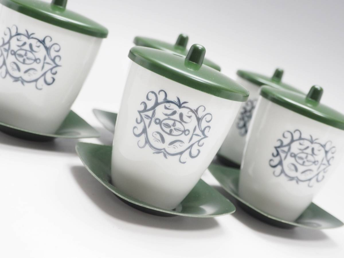 Z0C0031 【 湯飲み 蓋 茶托付 5組 セット 紙箱付 】 検) 茶器 煎茶器 湯呑み ゆのみ 汲出 茶碗 5客 セット お茶 和食器 食器 p02_画像2