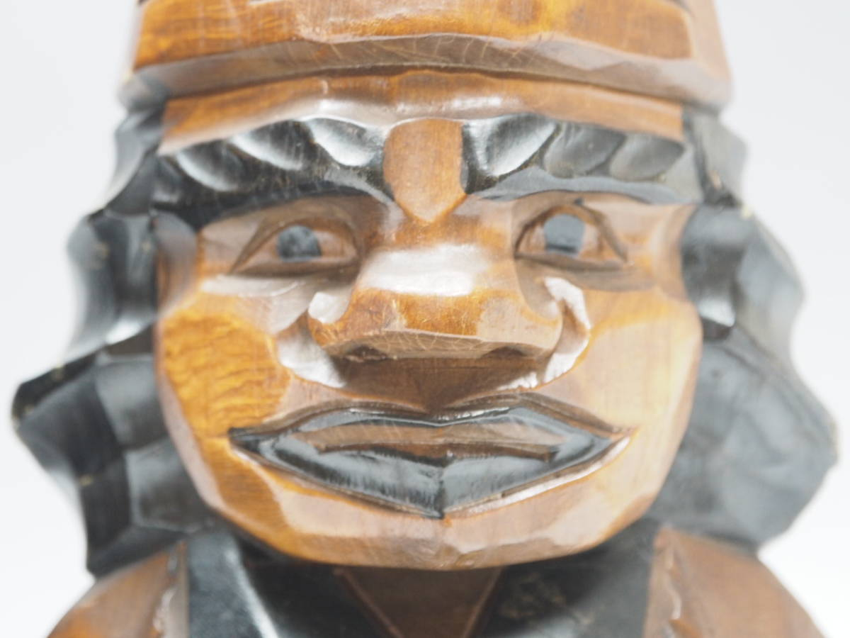 Z0B0159 【 アイヌ 木彫り ニポポ 人形 一対 高30.8cm 】 検) 木製 彫刻 木工芸 工芸品 民芸品 置物 飾り物 インテリア 2体 セット p02_画像3