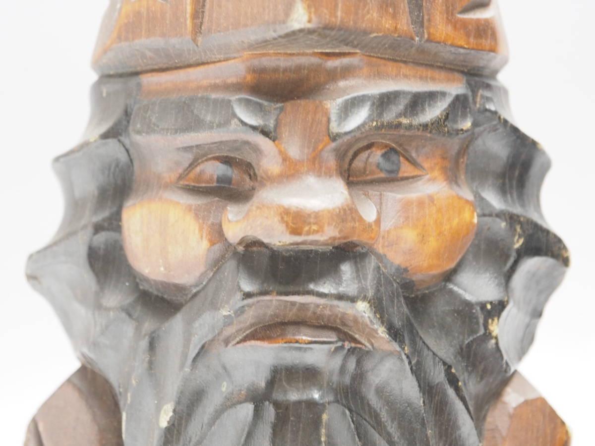 Z0B0159 【 アイヌ 木彫り ニポポ 人形 一対 高30.8cm 】 検) 木製 彫刻 木工芸 工芸品 民芸品 置物 飾り物 インテリア 2体 セット p02_画像2