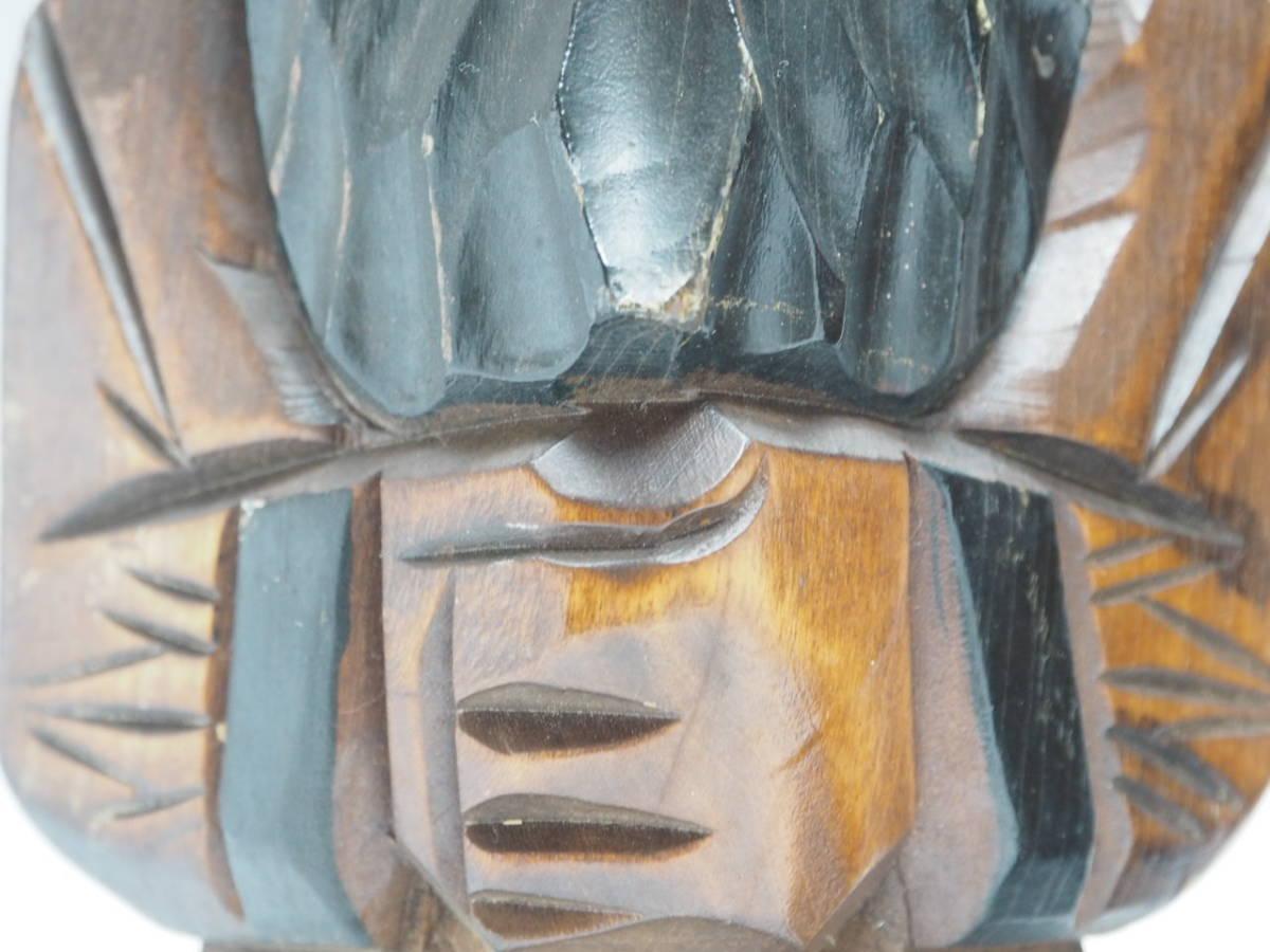 Z0B0159 【 アイヌ 木彫り ニポポ 人形 一対 高30.8cm 】 検) 木製 彫刻 木工芸 工芸品 民芸品 置物 飾り物 インテリア 2体 セット p02_画像4