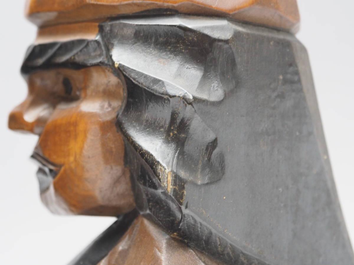 Z0B0159 【 アイヌ 木彫り ニポポ 人形 一対 高30.8cm 】 検) 木製 彫刻 木工芸 工芸品 民芸品 置物 飾り物 インテリア 2体 セット p02_画像6